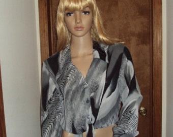 Hot Stuff Crop Top Hippie Op Art Long Sleeve Animal Print Sheer Tie Knot Mod Blouse 1970s