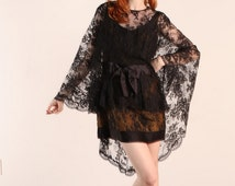 Stunning late 50's early 60's re designed Lace Cape Mini dress