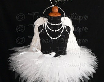 "Angel Tutu Costume w/ Halo - 8"" Tutu, Angel Wings, and Feather Halo Headband - For Girls, Babies, Toddlers - Valentine's Day"