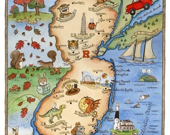"New Jersey State Map Art Print 8"" x 10"""