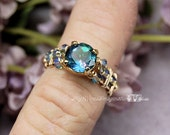 Peacock Blue Genuine Mystic Topaz Hand Crafted Wire Wrapped Ring Original Signature Design Fine Jewelry