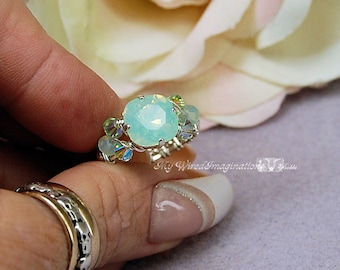 Chrysolite Pale Green Opal Genuine Swarovski Crystal Hand Crafted Wire Wrapped Ring Original Signature Design Fine Jewelry