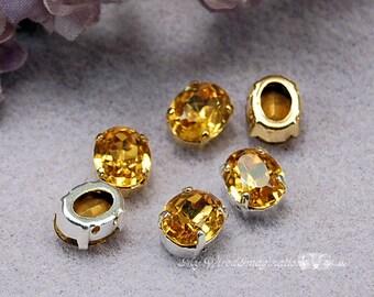 Topaz Yellow, Vintage Swarovski Sew On 10 x 8mm Topaze Oval Shape, Topaz Crystal Sew On, Rhinestone Crystal Setting, November Birthstone