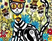 Mexican Cat Art Print, Day of the Dead Art, Watercolor Mixed Media Illustration, Skeleton Cat, Original Art Print, 5 x 6.5, Green Black