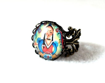 Day of the Dead Ring, Mexican Peasant Girl Art, Bronze Filigree Cocktail Ring Jewelry, Art Print Under Glass, Red Blue