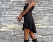Organic Love Me 2 Times Wanderer Mullet Mini Dress - ( light hemp and organic cotton knit ) - organic high low dress