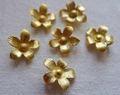 6 Large Delicate Flower Charms Gold Plated
