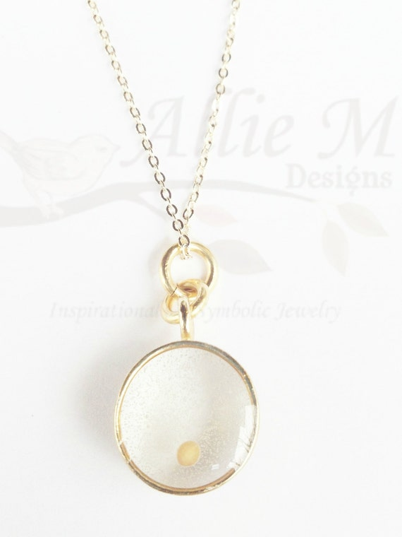 MUSTARD Seed Charm, Gold Necklace, Vintage Style Charm - Faith and Change - Mustard seed Pendant