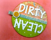 Springy Clean / Dirty Dishwasher Magnet / Melon, Aqua, Chartreuse Kitchen Decor