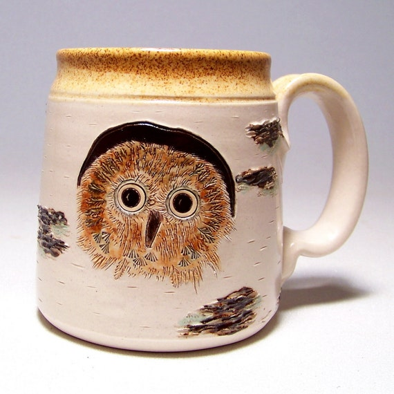 Owl Baby and Birch Pottery Coffee Mug Limited Series 46 (microwave safe) 12oz white stoneware
