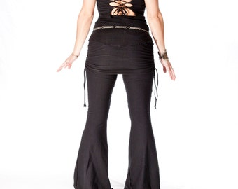 Yoga/Dance Pants with attached skirt, ROCKSTAR FLARES adjustable, ruched, bellydance, workout