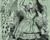Digital Download Alice and Cards, Alice in Wonderland digi stamp, digital stamp, Lewis Carroll Antique Illustration