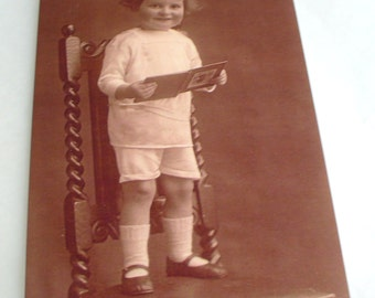 Toddler on Chair Boy Blank Greetings Cards  featuring Vintage Image   Choice of border colour