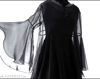 Darkly Ethereal Black Chiffon Shadowen Blouse with Dramatically Flared Sleeves by Kambriel - Brand New & Ready to Ship!