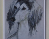 Grizzle Saluki Dog Art Note Cards By Cori Solomon