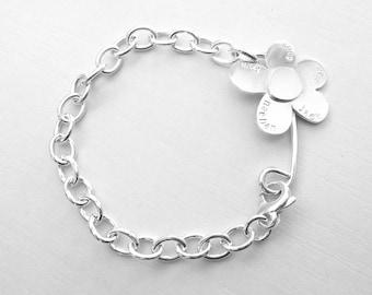 Personalized Daisy Bracelet Sterling Silver