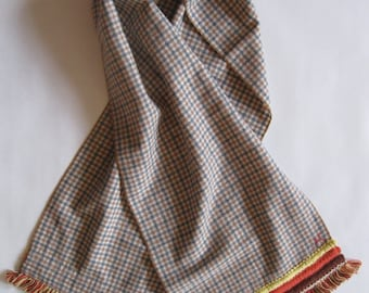 Scarf - in vintage plaid in gray, light brown, and cream with your choice of vintage fringe trims