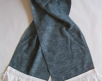 Scarf - in soft woven contemporary fabric in black, teal, and white, with your choice of 2 vintage fringe gimp trim