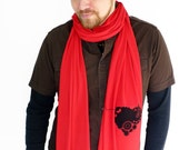 Red Heart Scarf - Clockwork Bomb Heart Scarf - Valentine's Day Gift