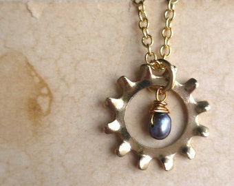 Cog and Pearl Necklace - Brass - Blue - Pearl - Wire Wrapping - Industrial Chic - Rustic - Steampunk - Cog and Pearl Jewelry - Pendant