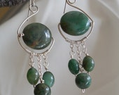 Green African Jade and Sterling Silver Wire Wrapped Dangle Earrings - OOAK