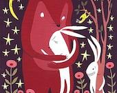 Bear Hugs Rabbit ACEO Woodland Art Print - Whimsical and Sweet Animal Trading Card