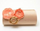 Dark Champagne Latte Clutch with Peach Apricot & Champagne Flowers - Bridal Clutch - Bridesmaid Clutch - Petite Shabby Chic Bouquet Clutch
