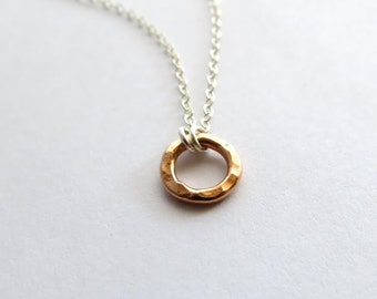 Anapuni Rose - Rose Gold Circle necklace mixed metal, rose gold necklace, rose gold jewelry, simple necklace
