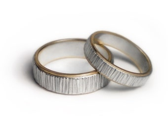 Silver and gold wedding bands - Aspen Forest