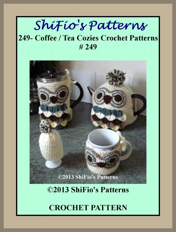 Owl French Coffee Press, Cafetiere, Teapot, Mug, Egg Cozy Crochet Pattern DIGITAL DOWNLOAD 249