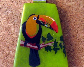Fused Glass Pendant Toucan Pendant Glass Jewelry Decal Pendant