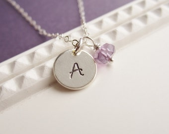 Mothers necklace, custom birthstone, custom initial, personalized children's initials, sterling silver, necklace for mom, Mother's Day gift