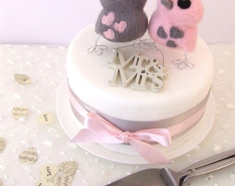 Bird Wedding Cake Topper in Pink and Grey