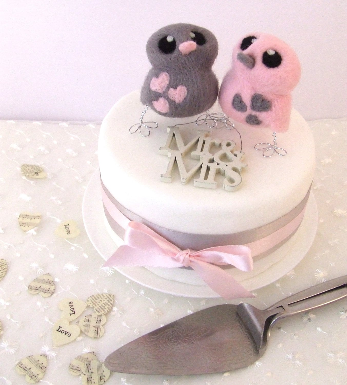 wedding cake toppers birds uk bird wedding cake topper in pink and grey 26398