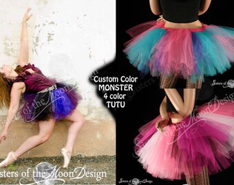 Custom Color tutu skirt puffy four color adult costume dance ballet race run roller derby - You Choose Size and Colors - Sisters of the Moon