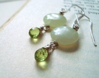 Serpentine and Peridot Earrings - Mint Leaves. Sterling Silver Wire Wrapped August Birthstone Lime Green Gemstone Gifts Under 40