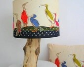 "Cormorant Lampshade 12"" (30cm) Diameter Craft Kit, Make your own, Distinctive cotton Lampshade Kit, Bird Print Lampshade Kit,"
