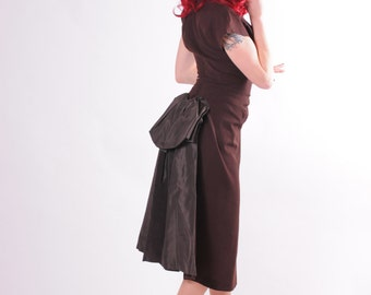 40s Dress Brown Wool Cocktail Gown with Taffeta Bustle - Small