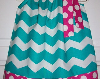 SALE Pillowcase Dress Chevron dress Turquoise and Hot Pink Dots Spring dress Easter dress baby dress toddler dress girls dress Kids Clothes