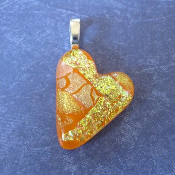 Orange Heart Pendant, Necklace Slide, Orange Jewelry, Couples Jewelry - Love Flame - 3702 -2