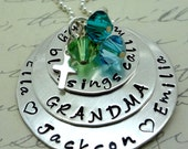 My Blessings Call Me Mom - Grandma or Mom Necklace - Hand Stamped Personalized - Sterling Silver - Mother's Day