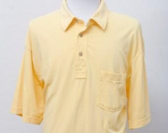 Men's Shirt / Vintage Yellow Cotton Polo Shirt / Size XL