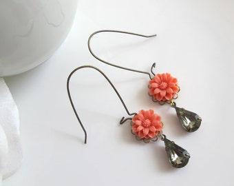Coral Red Marigold Blossoms Vintage Gem Drop Earrings. Spring Summer Floral Nickel free Lead free Antique Brass Ear Accessories