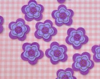 Set of 12pcs felt flower--light plum/hyachinth (FT406)