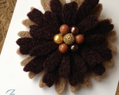 One Of A Kind - Repurposed Felted Wool Brooch -  Choolate Latte Daisy