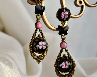 Unique vintage glass long dangle earrings with Swarovski jet black crystal butterflies and opaque pink  crystal jewels