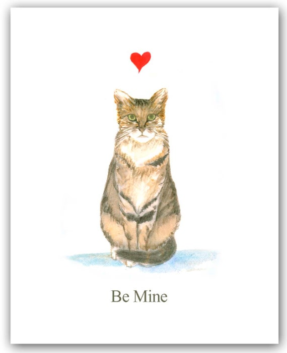 Valentine cat card Single card Tabby cat Valentines Kitty – Cat Valentine Card