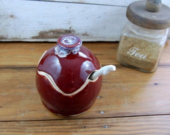 Sugar Bowl / Honey Jar in Red Agate - Made to Order