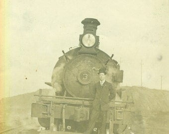"Tank Engine Locomotive SEPIA PHOTO  South San Francisco 1910 ""Sherrard"""