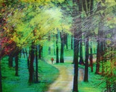 Art, Spring rains,11x14, Wall art, nature, Michigan roads less traveled, Michigan art, landscape, spring trees, green, art, green art